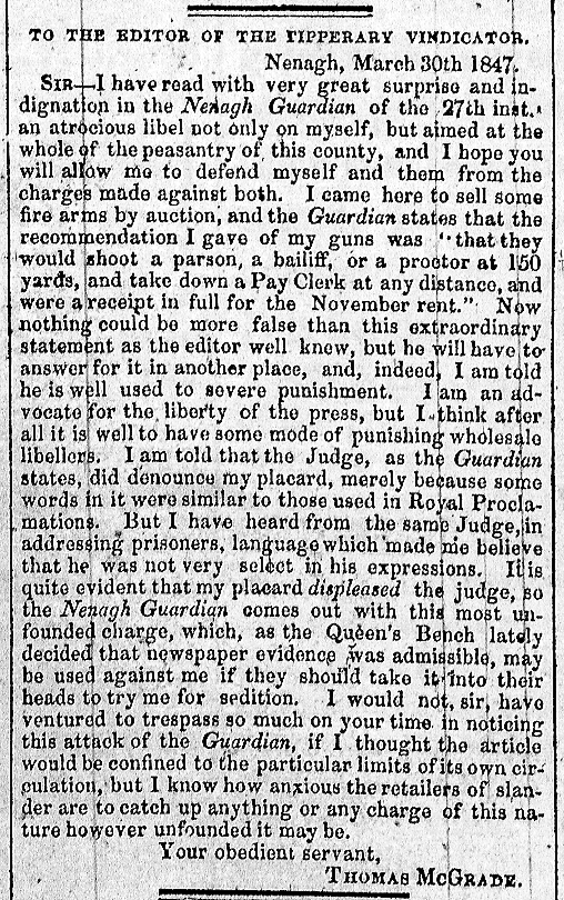 Nenagh Guardian 3 April 1847
