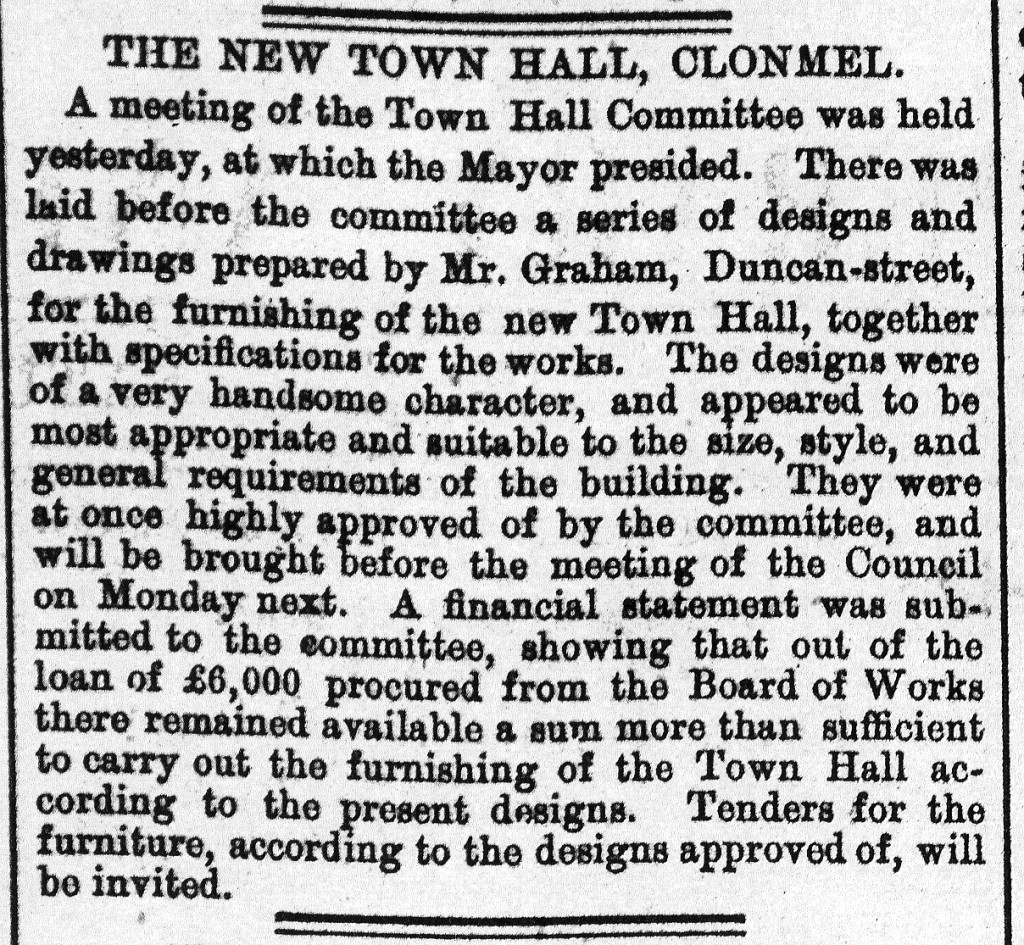 Clonmel Chronicle 2 July 1881 Town Hall