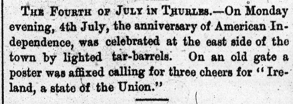 Clonmel Chronicle 6 July 1881 USA