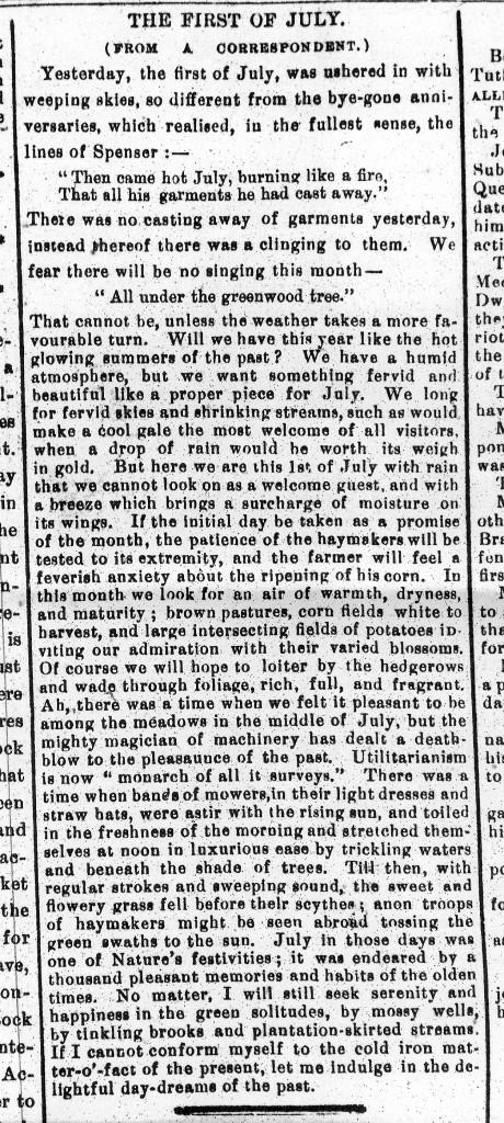 Nenagh Guardian 2-7-1881 Weather