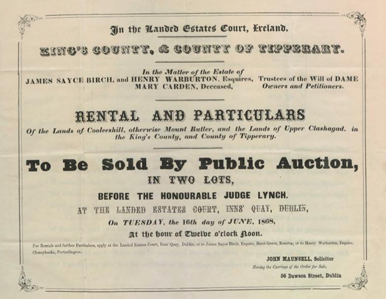 Lady Carden Estate Sale 1868