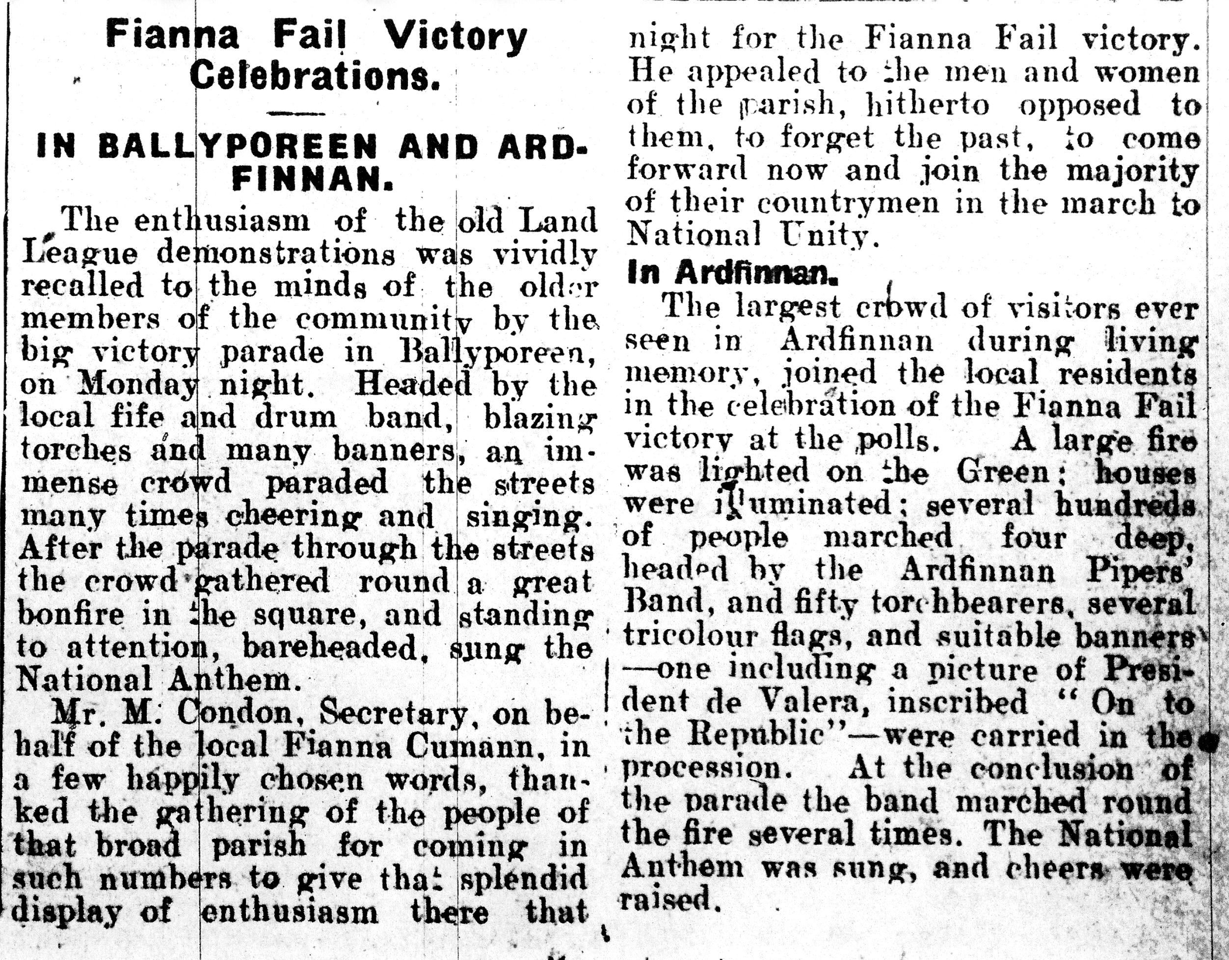 4 Feb 1933 Clonmel Chronicle Election