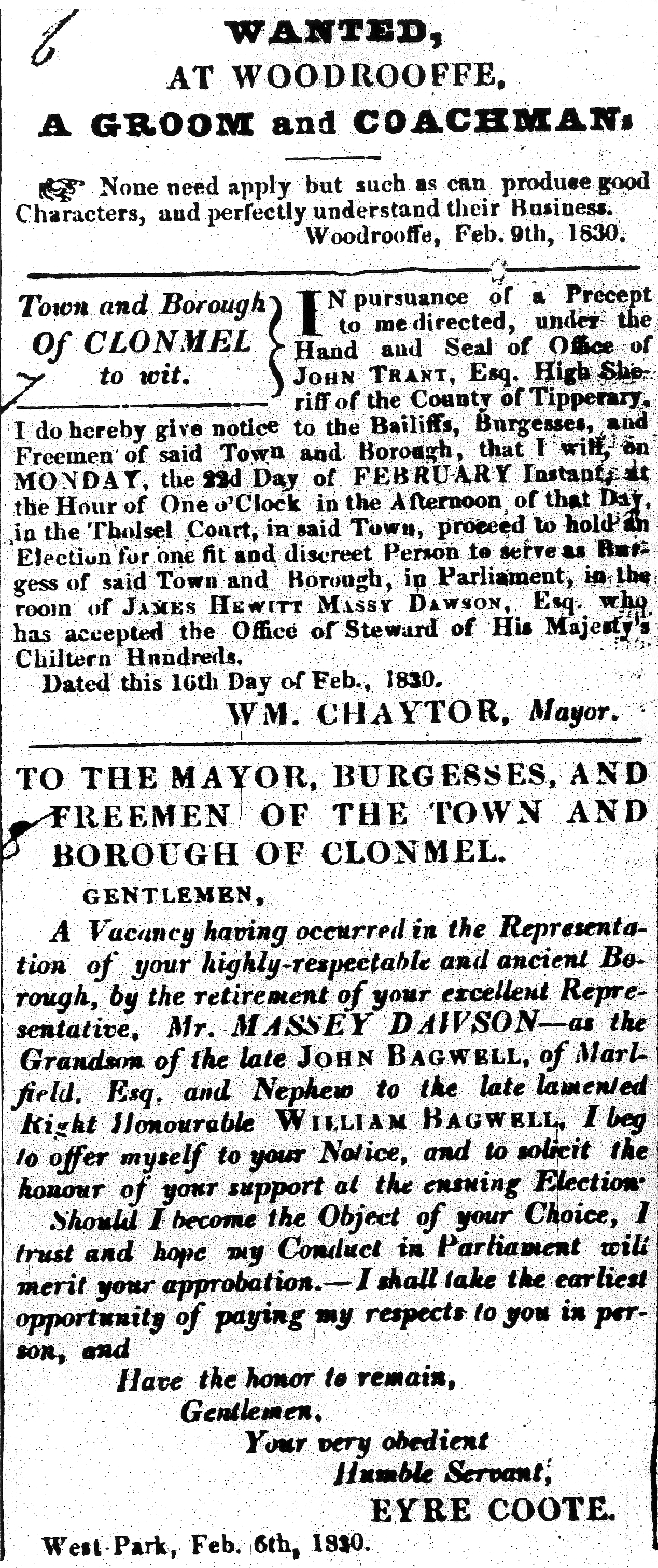 Clonmel Advertiser 20 Feb 1830 Coote