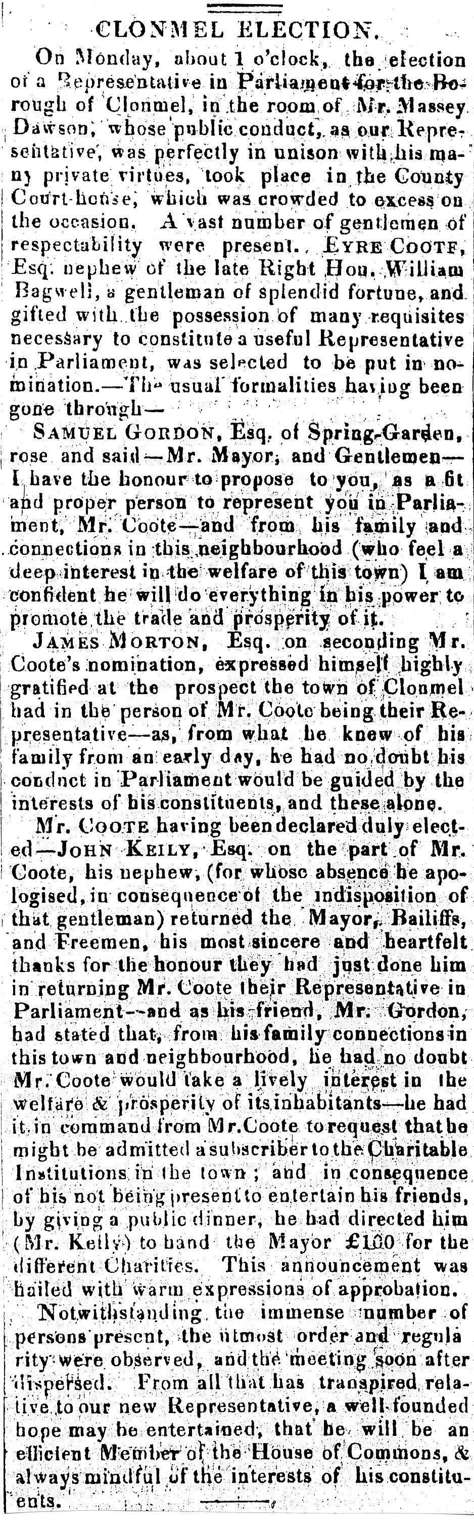 Clonmel Advertiser 24 Feb 1830 Coote