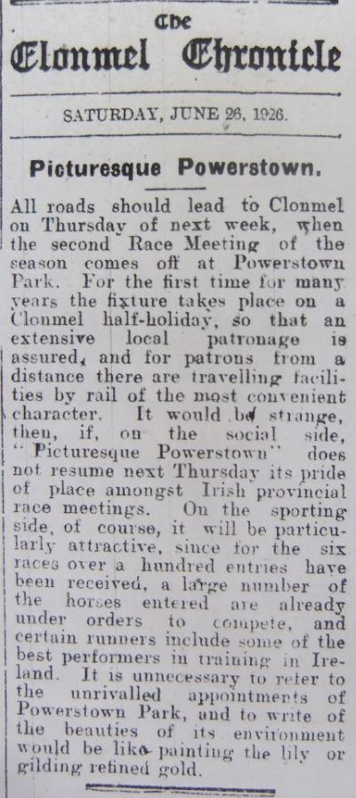 Clonmel Chronicle 26 June 1926 Powerstown