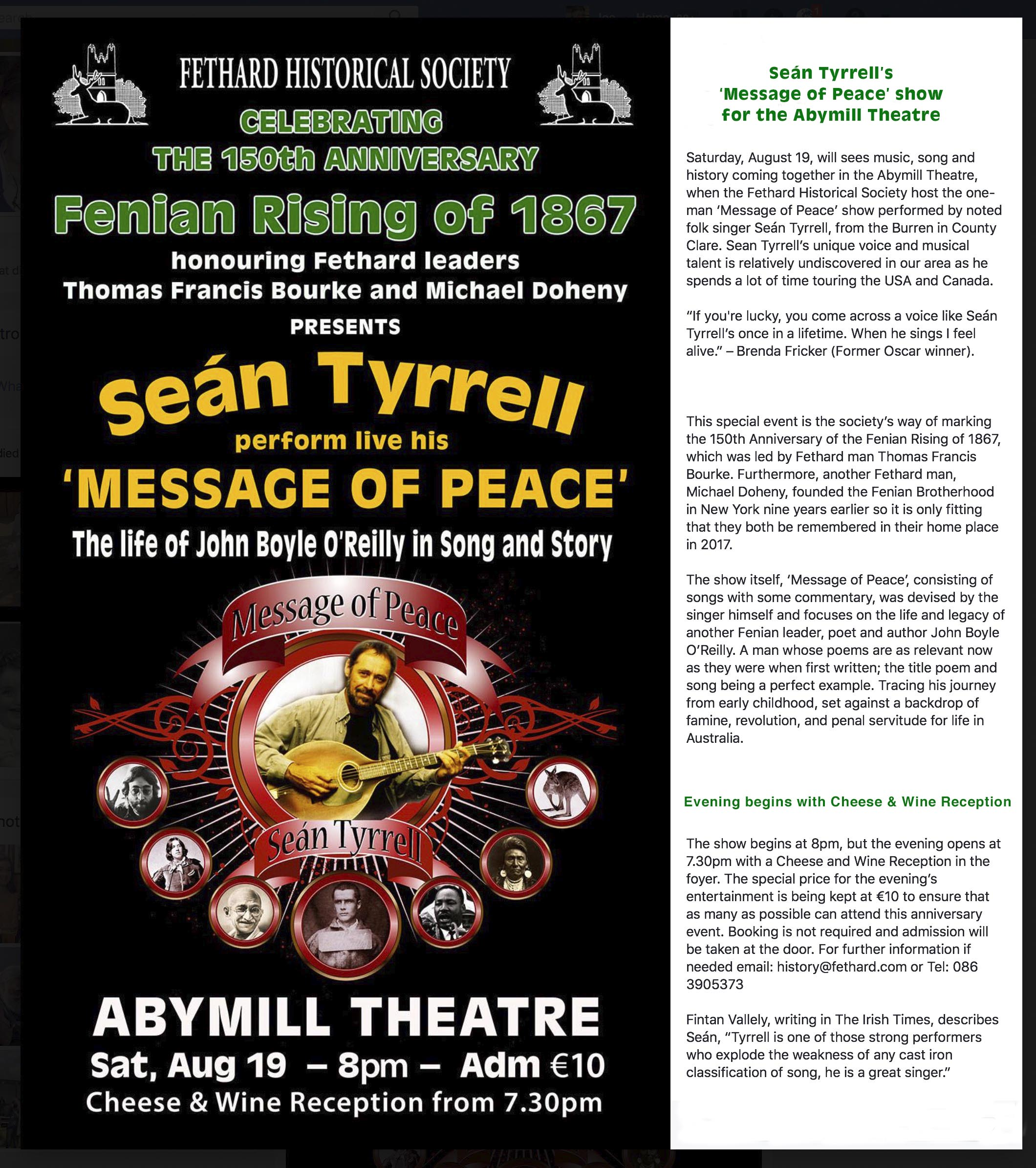 150th Fenian Anniversary Show In Fethard, Saturday August 19th