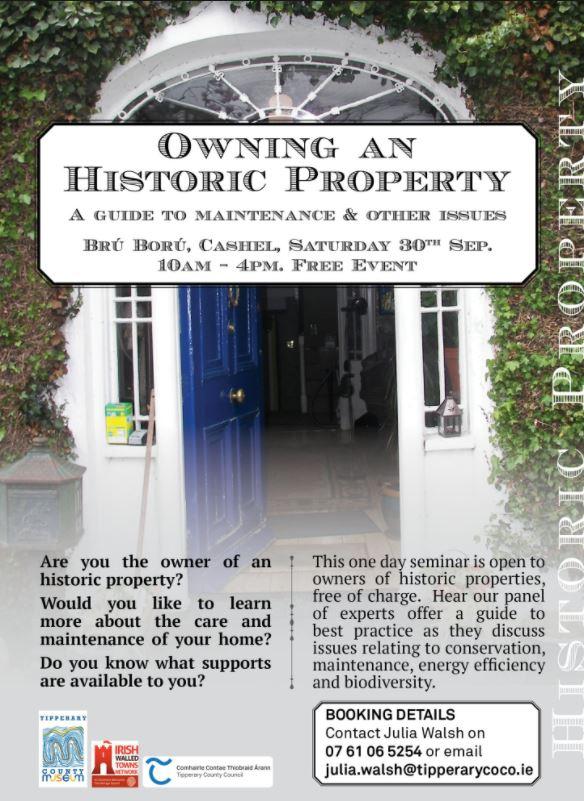 Owning An Historic Property – Sat. 30 Sept, Brú Boru, Cashel