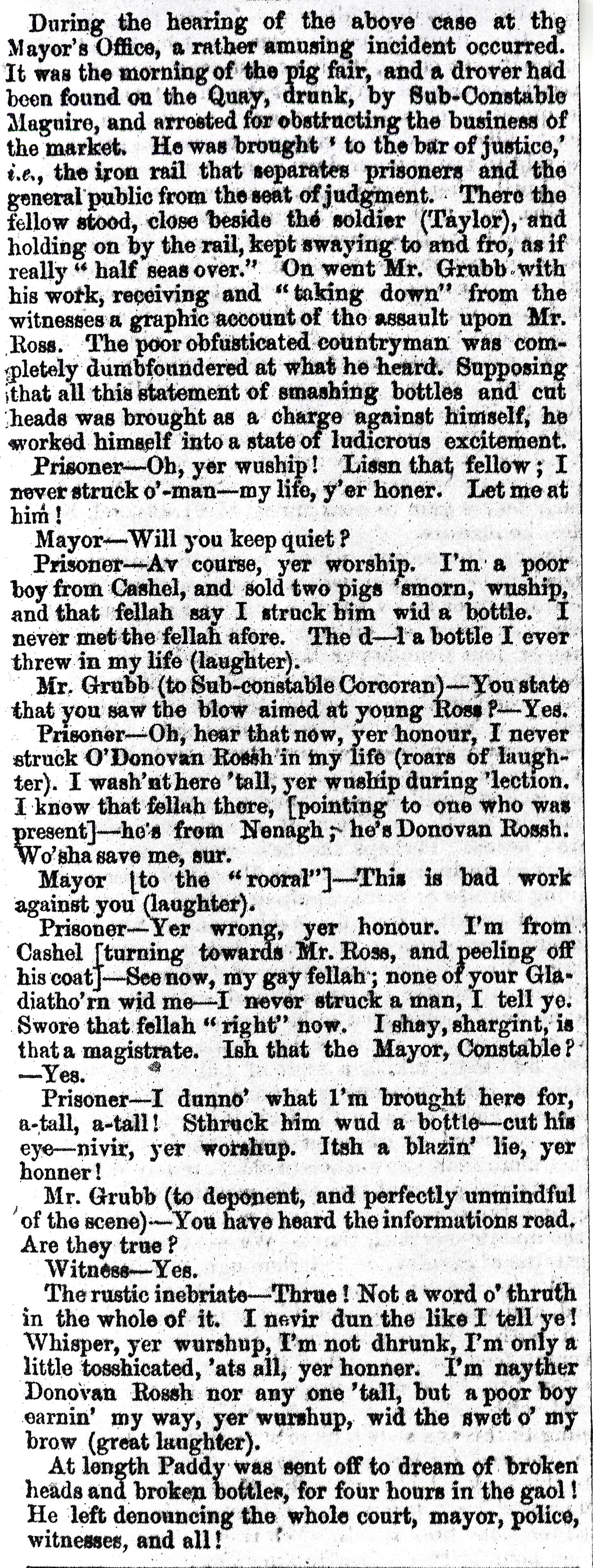 Clonmel Chronicle 1 Dec 1869