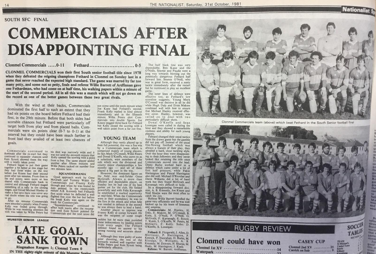 1981 South football final replay