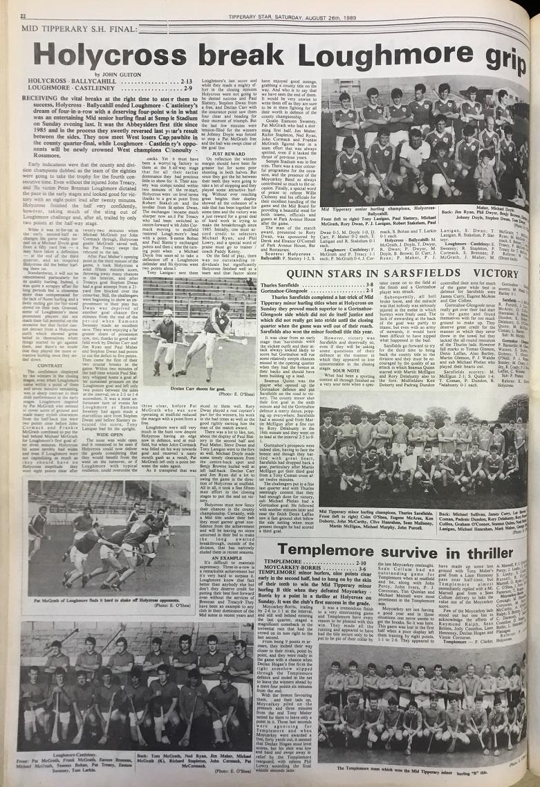 1989 Mid hurling final (2)