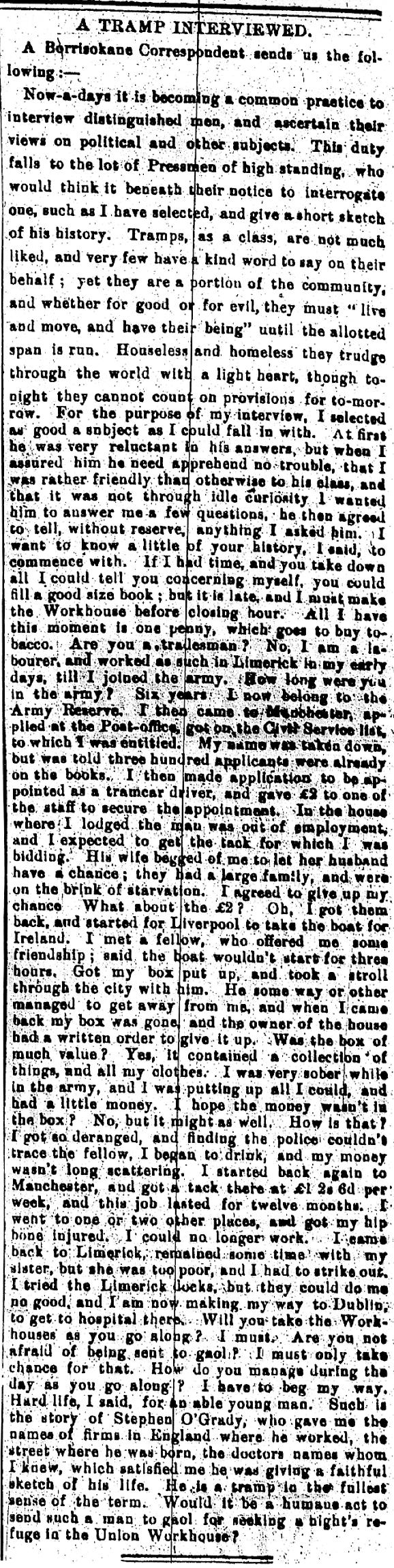 Nenagh Guardian 16 January 1889