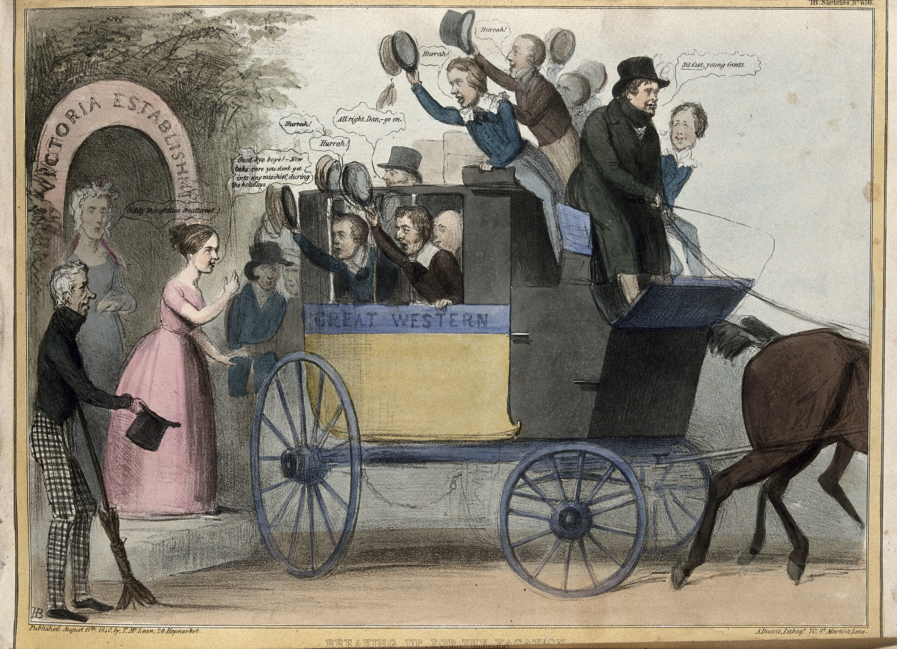 """V0050274 Daniel O'Connell drives a coach containing cheering schoolbo Credit: Wellcome Library, London. Wellcome Images images@wellcome.ac.uk http://wellcomeimages.org Daniel O'Connell drives a coach containing cheering schoolboy politicians that departs from the """"Victoria Establishment"""". Coloured lithograph by H.B. (John Doyle), 1840. 1840 By: John DoylePublished: 11 August 1840 Copyrighted work available under Creative Commons Attribution only licence CC BY 4.0 http://creativecommons.org/licenses/by/4.0/"""