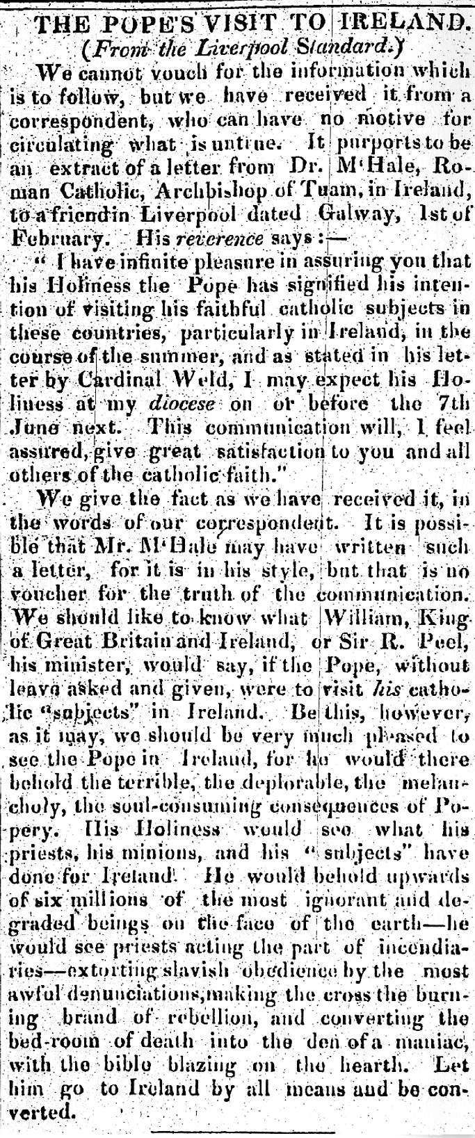 Clonmel Herald 14 Feb 1835