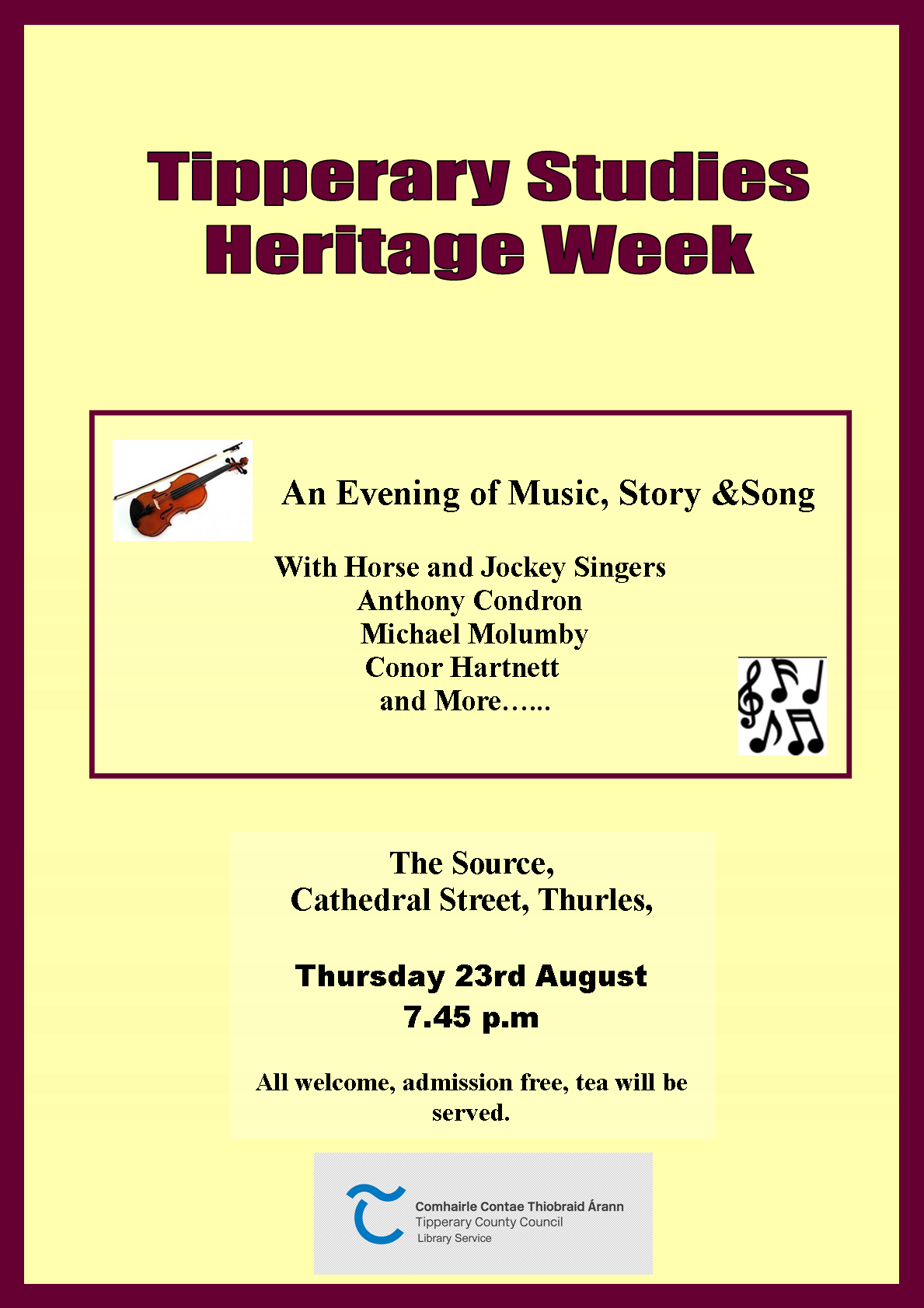 Heritage Week; An Evening Of Music, Story And Song