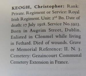 Tipperary war dead Keogh