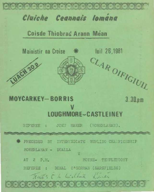 1981 Mid-Tipperary Senior Hurling Final