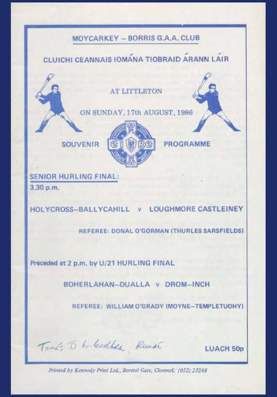 1986 Mid Tipperary Senior Hurling FinalR