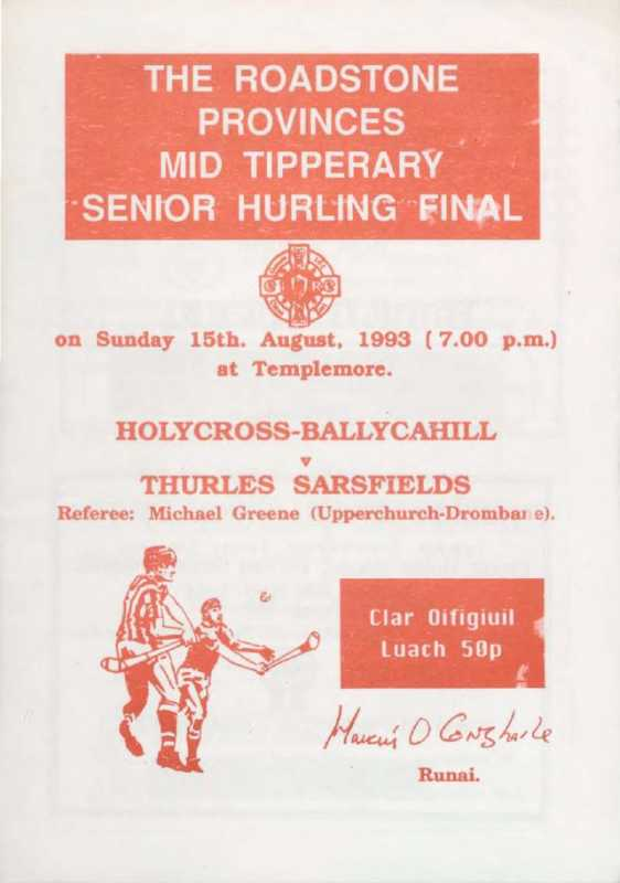 1993 Mid Tipperary Senior Hurling Final