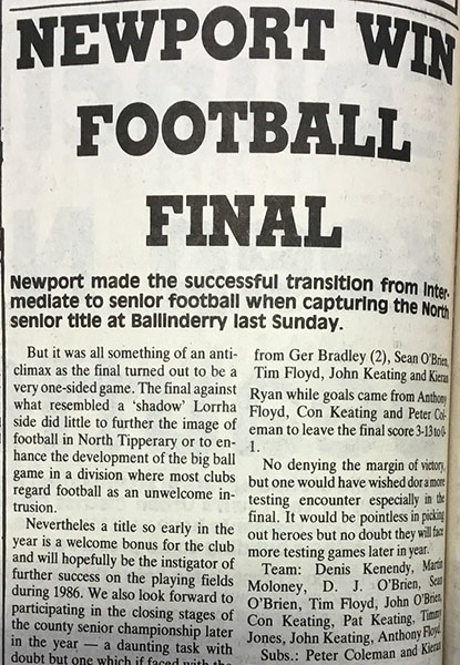 1986 North Football Final Cover