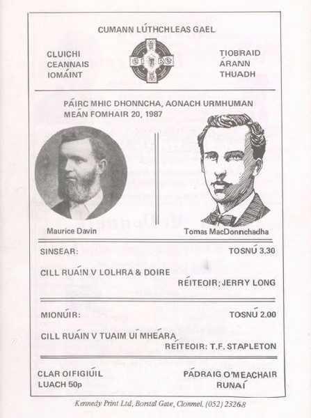 1987 North Tipperary Senior Hurling Final