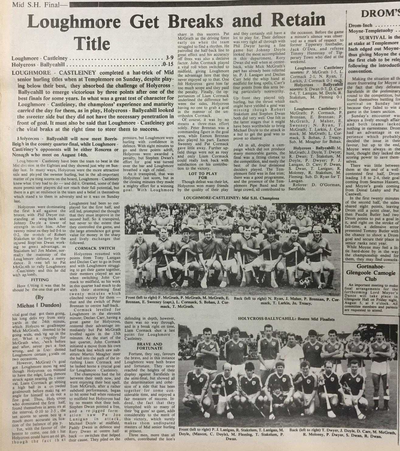 1988 Mid hurling final
