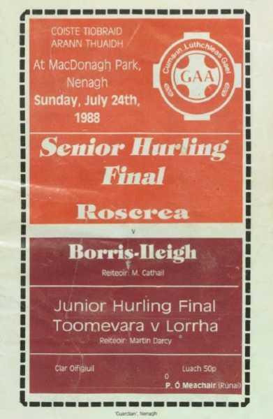 1988 North Tipperary Senior Hurling Final