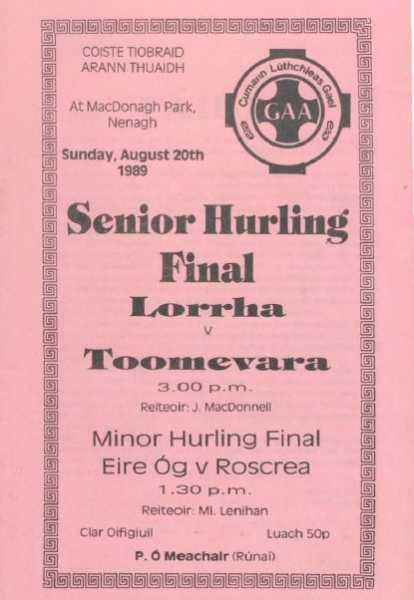 1989 North Tipperary Senior Hurling Final