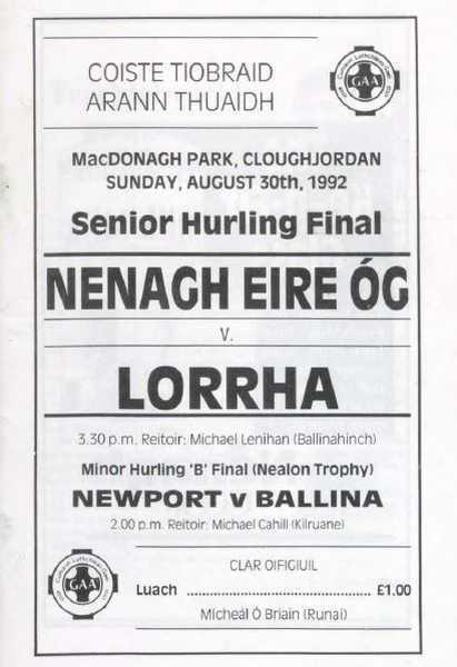 1992 North Tipperary Senior Hurling Final