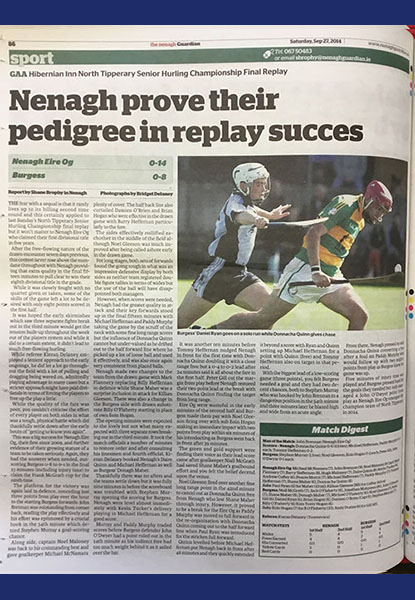 2014 North Hurling Final Replay Cover