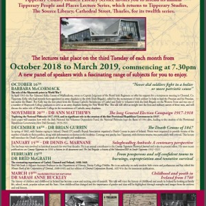 Tipperary People And Places Lecture Series Returns