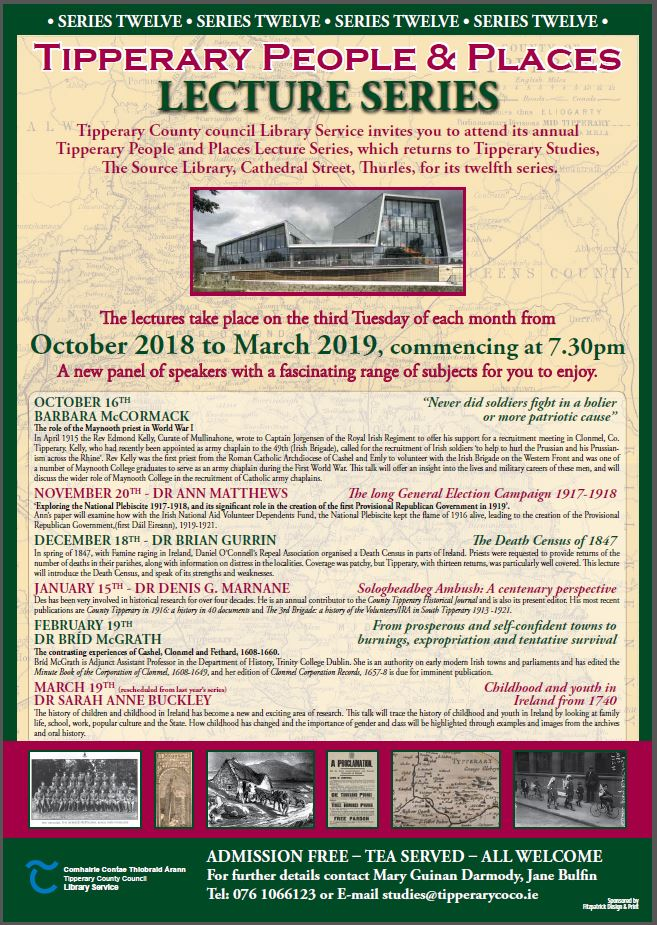 November Tipperary People And Places Lecture