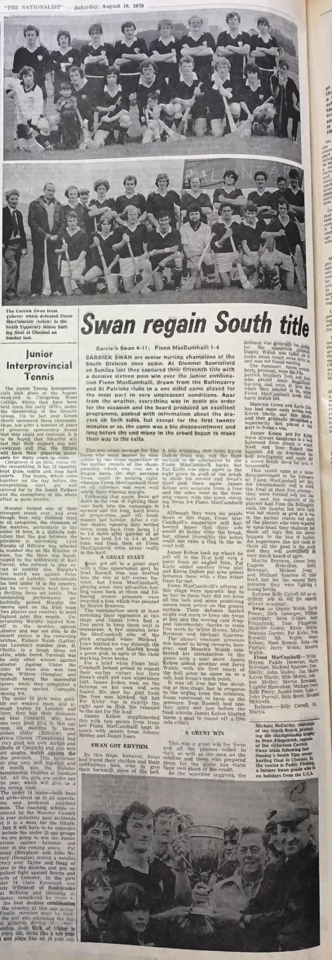 1978 South hurling final