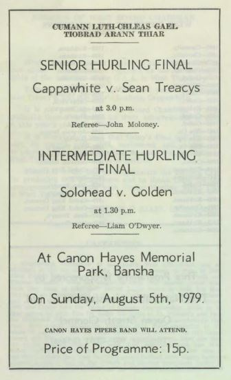 1979 West Tipperary Senior Hurling Final