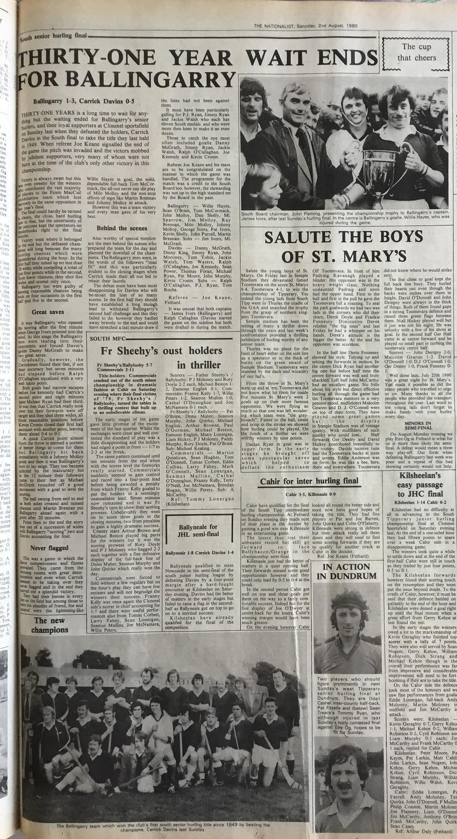 1980 South hurling final