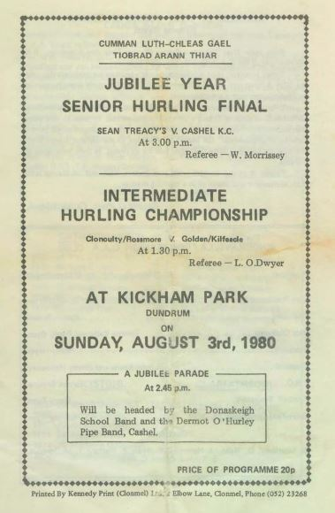 1980 West Tipperary Senior Hurling Final