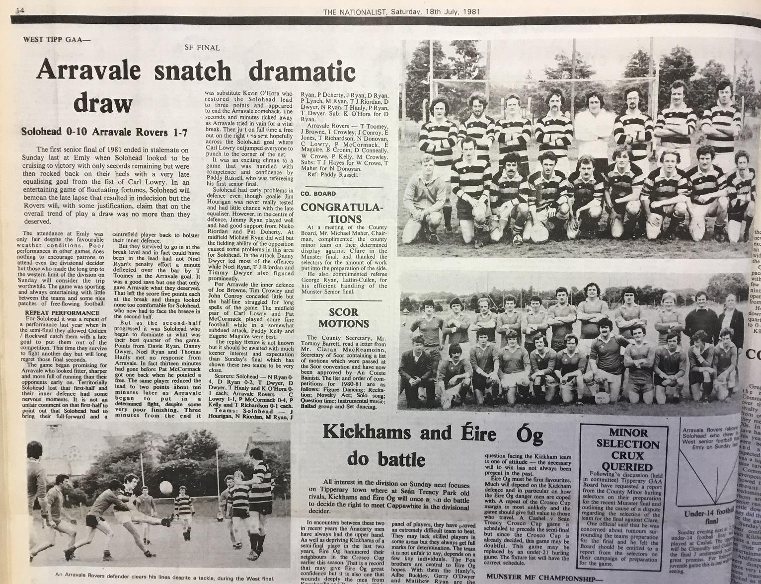 1981 West football final