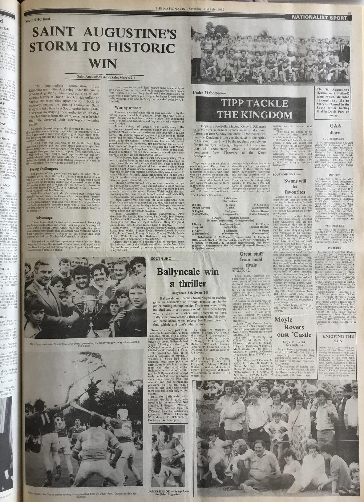 1982 South hurling final