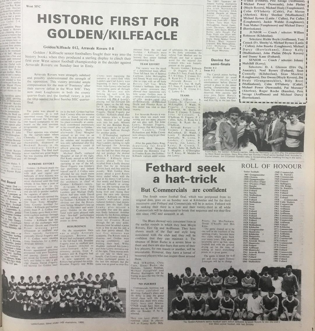 1986 West football final