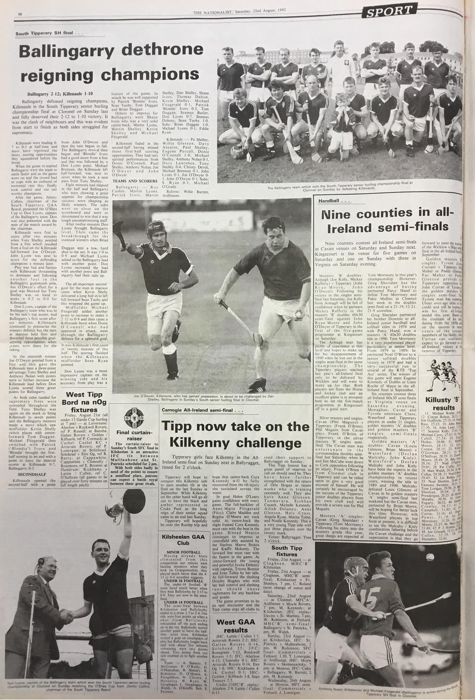 1992 South hurling final