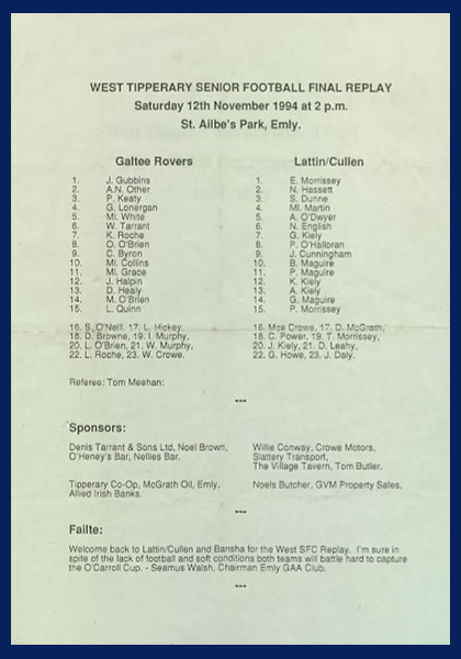 1994 West Tipperary Senior Football Final Replay C