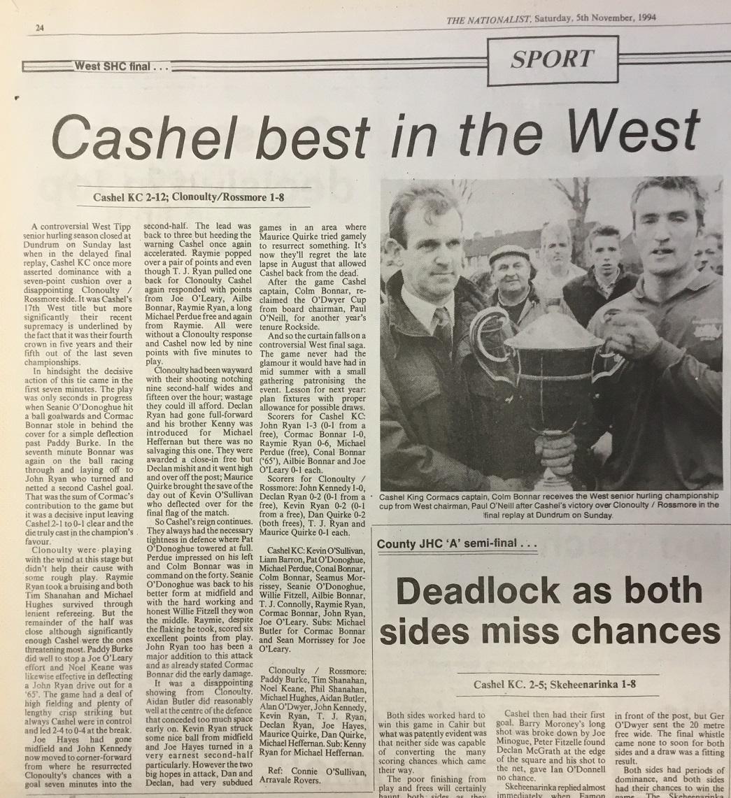 1994 West hurling final replay