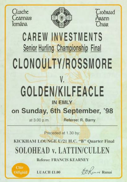 1998 West Tipperary Senior Hurling Final