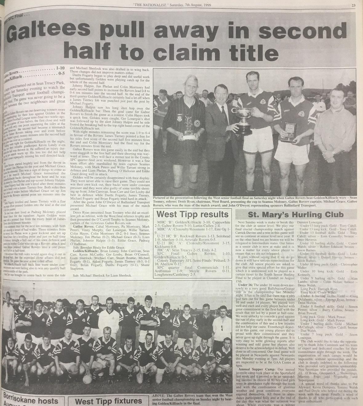 1999 West football final