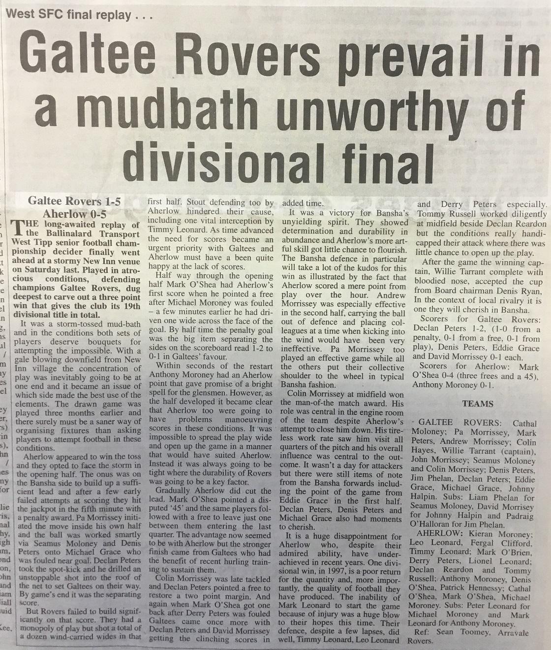 2000 West football final replay
