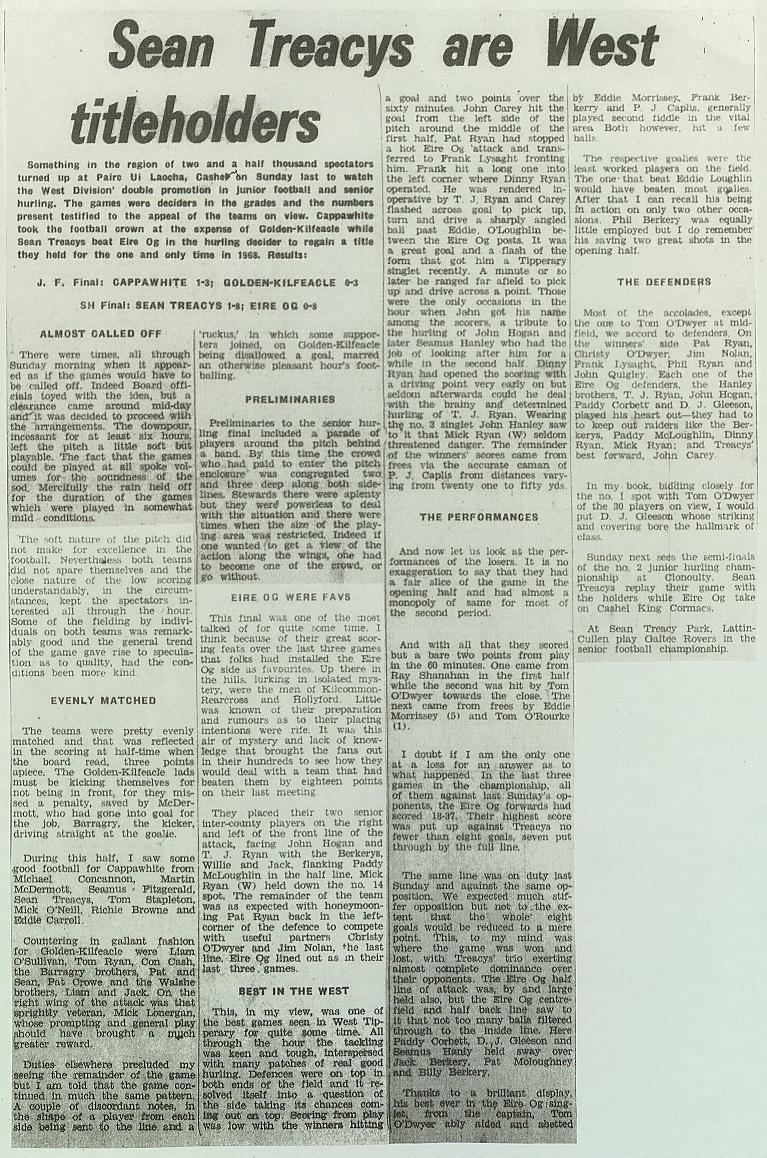 1973 West Hurling Final report
