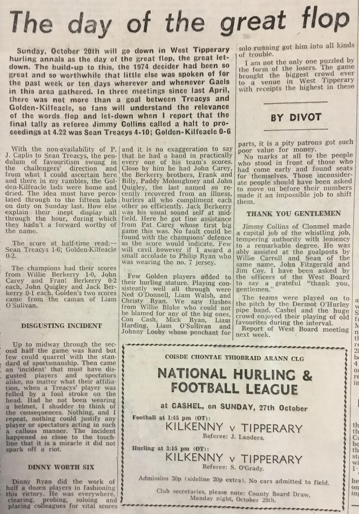 1974 West Hurling Final report