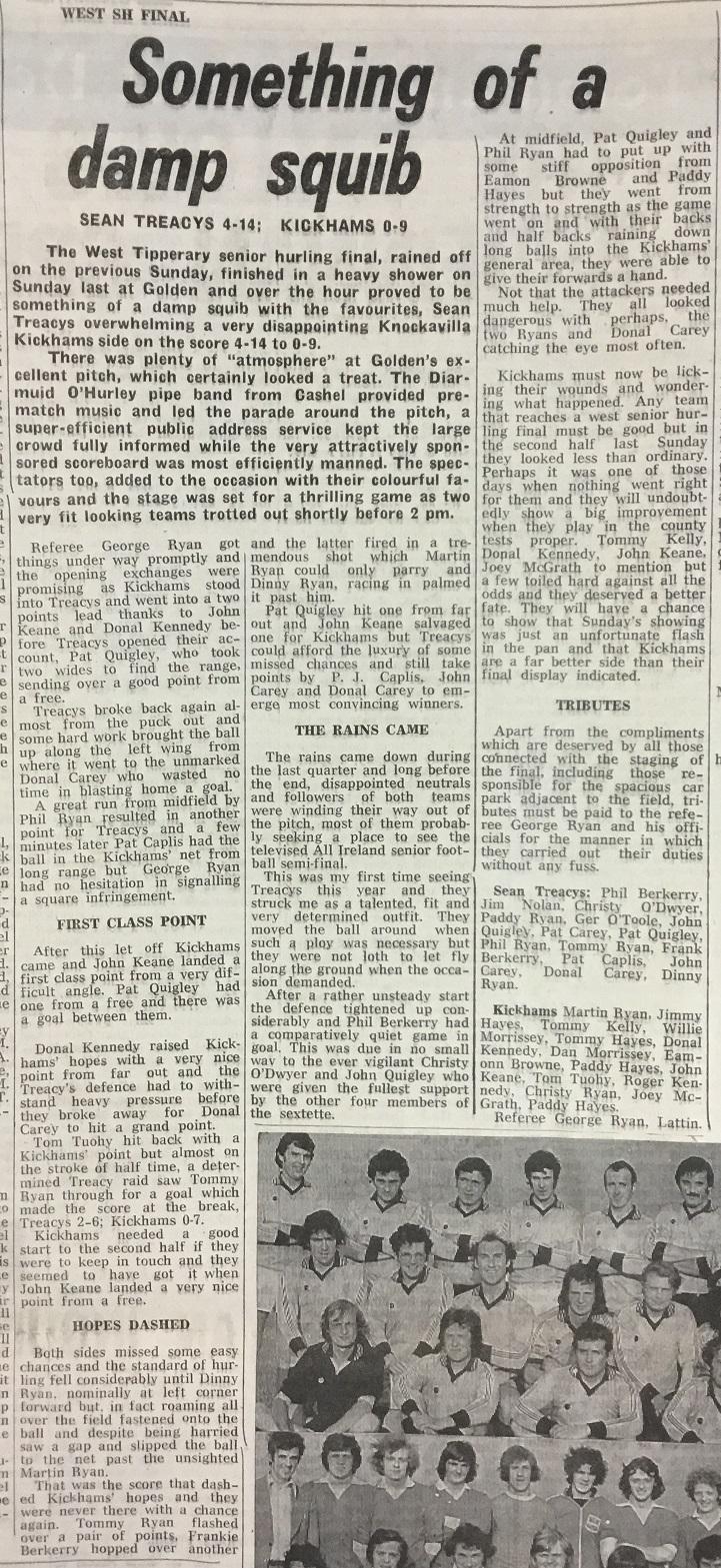1977 West Hurling Final report