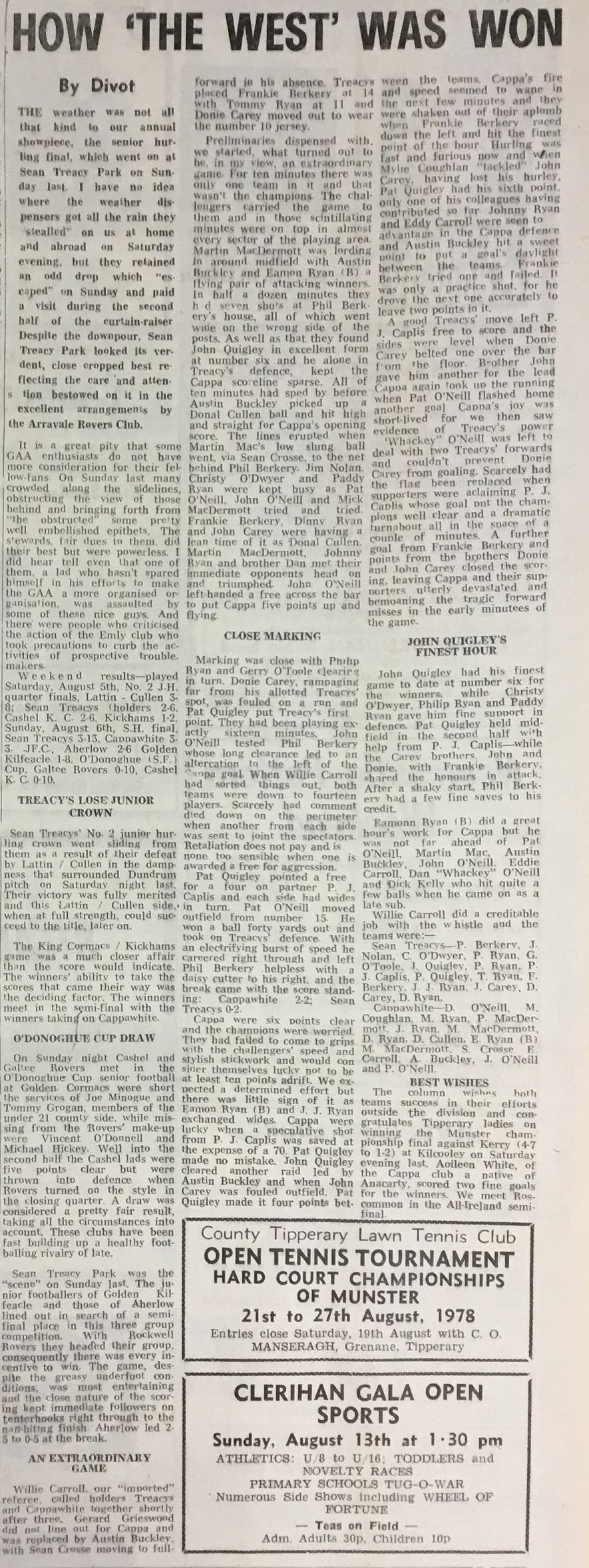 1978 West Hurling Final report