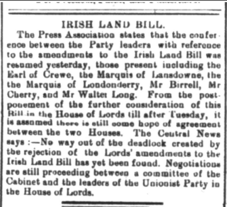 1909 Land Act Deadlock