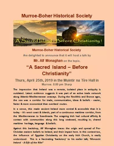 """Ireland A Sacred Island – Before Christianity"" Thurs, April 25th, 2019 In The Muintir Na Tíre Hall In Murroe. 8:00 Pm"